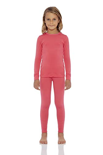 Rocky Girls Fleece Lined Thermal 2PC Underwear Set Top and Bottom (XS, Coral) ()