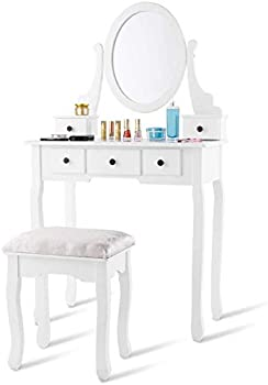 Costway Mirrored Jewelry Wooden Vanity Table Set with 5 Drawers