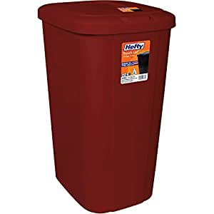 Amazon Com Hefty Touch Lid 13 3 Gallon Red Trash Can