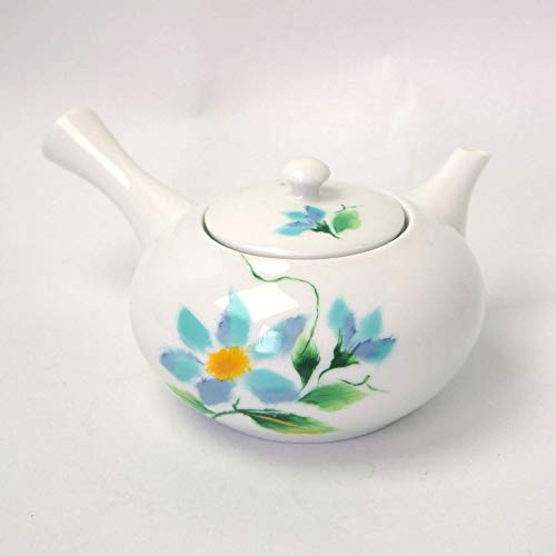 Okura Ceramics Japanese Ceramic Kyusu Teapot with Trainless Steel Strainer 400ml - White Porcelain with Clematis 6108819S1