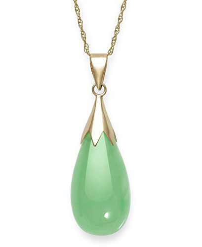 Natural Green Jade Teardrop Pendant Chain Necklace in 10K Gold,18
