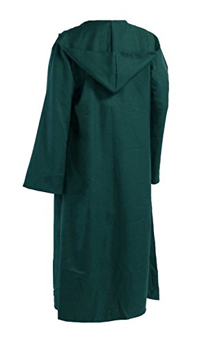 (Men TUNIC Hooded Robe Cloak Knight Fancy Cool Cosplay Costume green)