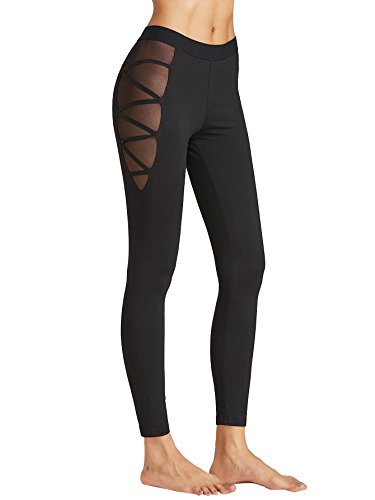 SweatyRocks-Legging-with-Mesh-Side-Seam-Cutout-Slim-Workout-Pants