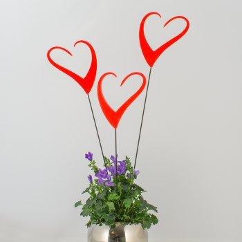 - light reflective three pieces including pole Sun Dancer HEARTS red height: 33cm width: 7cm MIC Suncatcher