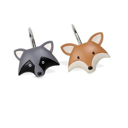 Mainstays Kids Woodland Creatures Resin Shower Curtain Hooks, Set of (Fox Shower Curtain Hooks)