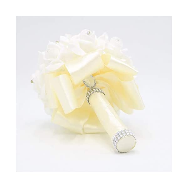Eternal Blossom Wedding Bouquet, Crystal Pearl Silk Rose Bride Bridesmaid Wedding Holding Roses, 2520cm Artificial Fake Flowers for Wedding Parties and Churches (4-Milk White)