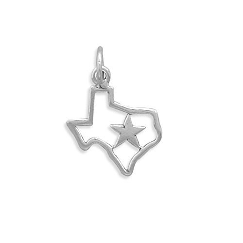 (State of Texas with Star Charm Polished Sterling Silver - Made in the USA)