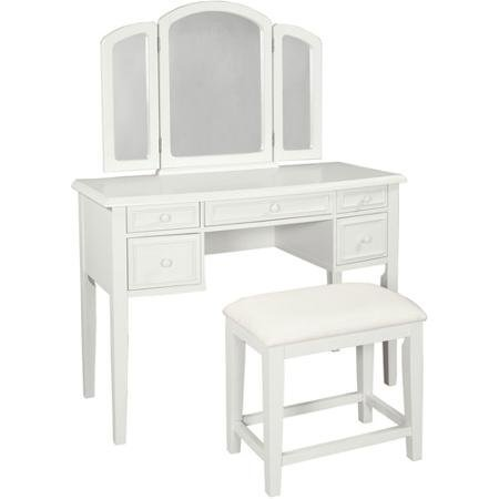 Generously-Sized Top, Transitional Style, Vanity with Tri-Fold Mirror and Bench, White