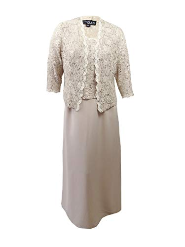 Alex Evenings Women's Sleeveless Dress and Matching Jacket, Taupe, 10 (Jacket Satin Dress)