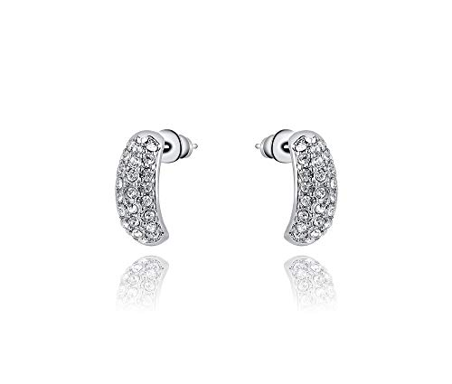 (Silver Shoppee Girls' 'Striking' Genuine Austrian Crystal Sterling Silver Plated Stud)