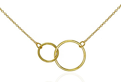 Double Circle Necklace Eternity Pendant Interlocking Rings .925 Sterling Silver Gold Tone 16-18