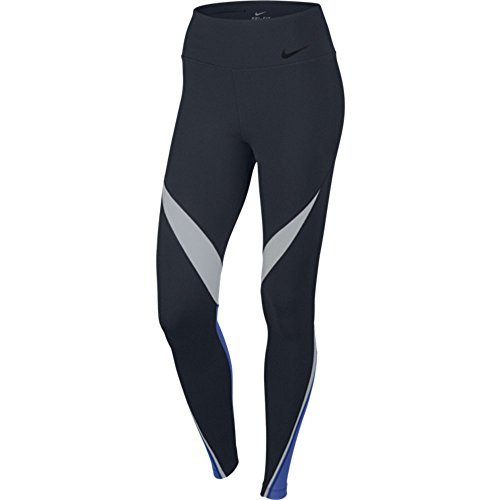 Nike Womens Dri-Fit Legendary Fabric Twist Veneer Training Tights 724963-451 (Large, Obsidian/White/Game Royal/Black)