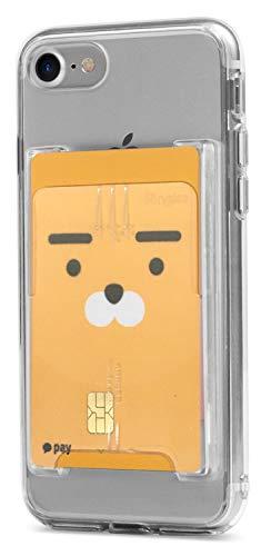 Ringke Slot Card Holder Adhesive Stick On Wallet Case Minimalist Slim Hard Premium Credit Card Cash Sleeve Compatible with Most Smartphones - Clear Mist
