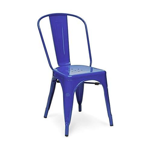 Snug Furniture Cómodos Muebles Metal Sillas Vintage Industrial Metal galvanizado Estilo Bistro Silla de Comedor Asiento Apilable - Azul, Silla ...