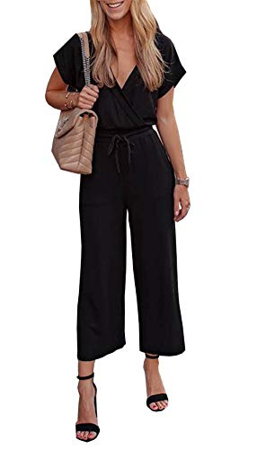PRETTYGARDEN Women's Casual Short Sleeve Elastic Waist Jumpsuit Rompers Black (Black, Small)