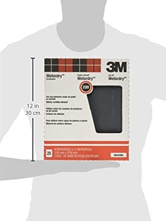 9-Inch by 11-Inch,1 Pack of 25 88598NA 220A-Grit 3M Pro-Pak Wetordry Sanding Sheets