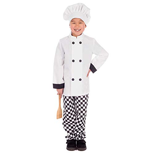 Kids Chef Costume Childrens Cook Uniform White Roleplay Outfit - Large