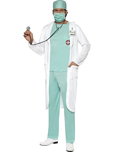Smiffys Men's Doctor Costume, Top, pants, Hat, Mask, Clear Name Tag and Coat, Accident and Emergency, Serious Fun, Size M, 39482