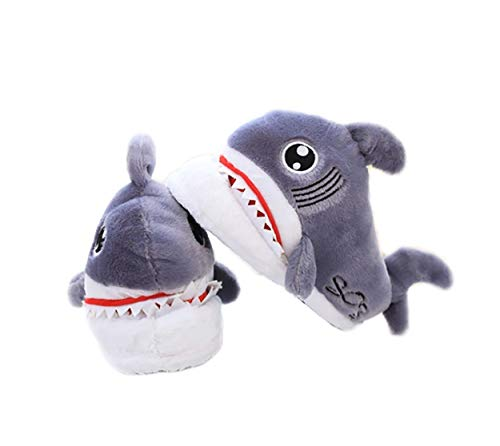 Man's Woman's Animal Fluffy Indoor House Fuzzy Funny Cozy Fur Slippers Shark Plush Cartoon Wool Warm Comfy Soft Winter Shoes -