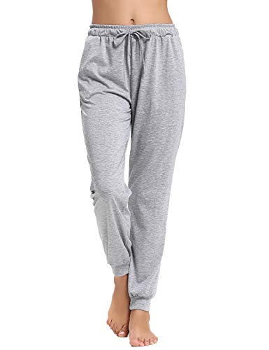 Abollria Women's Cotton Pajama Pants Stretch Lounge Pants with Pockets Jogger Pants (Grey-2, XX-Large)