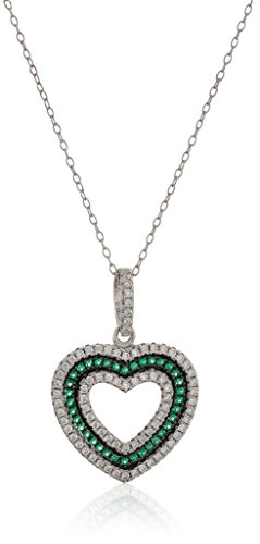 Amazon Collection Created Emerald and Cubic Zirconia Heart in Sterling Silver Pendant Necklace