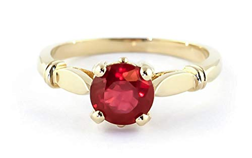 Yellow Solid Solitaire 14k Gold (Galaxy Gold 14K Solid Yellow Gold Solitaire 2 Carat Natural Ruby Ring - Size 7)