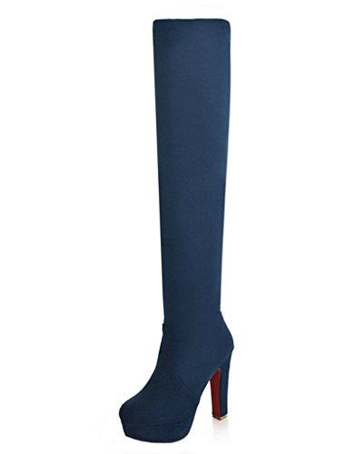 La Botas Azul Redonda Suede Moda Tacón Rodilla Minetom Invierno Botas Puntera Alto Mujer Zapatos De qwS6ROnXF