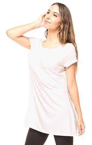 Free to Live Women's Long Flowy Short Sleeve or Sleeveless Tunic (Small, - Free Live