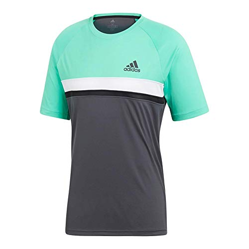 adidas Mens Tennis Club Color Block Tee, Hi-Res Green, Large