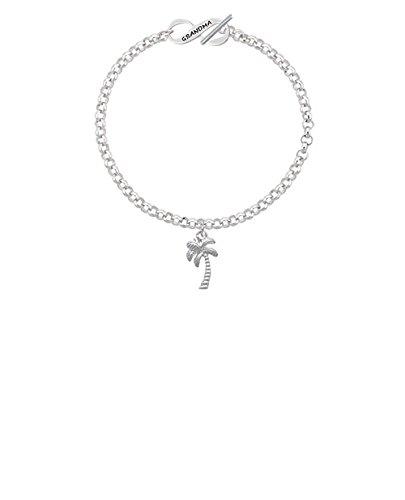 Silvertone Palm Tree Grandma Infinity Toggle Chain Bracelet 8