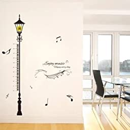 Height Measurement Growth Chart Streetlight Musical Notation Nursery Wall Decals Stickers Wall Decal Decor Sticker Removable r for Nursery Playroom Girls and Boys Children\'s Bedroom