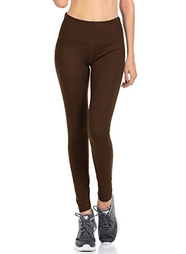(VIV Collection Signature Leggings Yoga Waistband Soft w Hidden Pocket (XL, Dark Brown))
