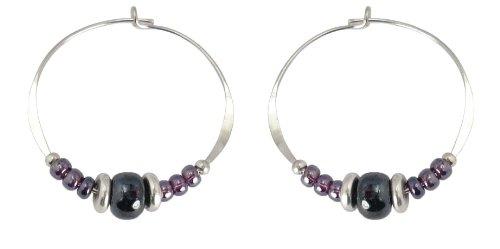 Bali Sky Large Sterling Silver Purple Bead Hoop Earrings SHL007 ()