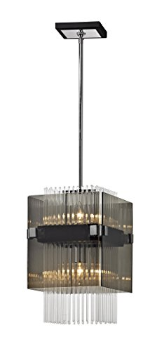 Apollo Lighting Pendant (Troy Lighting F5904 Apollo 2-Light Mini Pendant-Dark Bronze and Polished Chrome-Plated Smoked Clear Glass Rods)