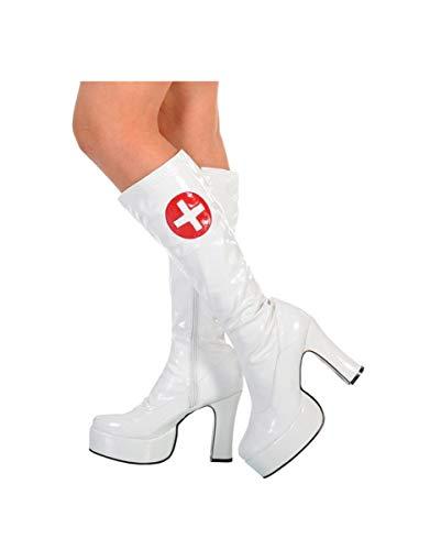 Krankenschwester Stiefel M Weiße für Nurse Plateau Shop Kostüme Horror sexy SAW1xw6Wn