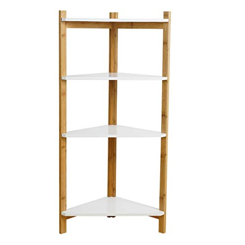 RTYou 4 Tier Corner Storage Bookcase Multi-Purpose Storage Rack Display Bamboo Shelf Wood Look Accent Furniture Freestanding Shelving for Shower Kitchen Hall Home Office]()
