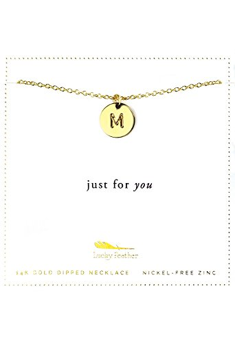 Lucky Feather 14k Gold Dipped Personalized Initial Necklace A - Z Letter Disc Necklace for Women