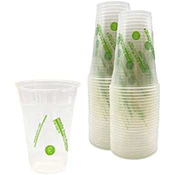Repurpose 100% Compostable Plant-Based Clear Cold Cup   16 Ounce Party Cups   50 Cups