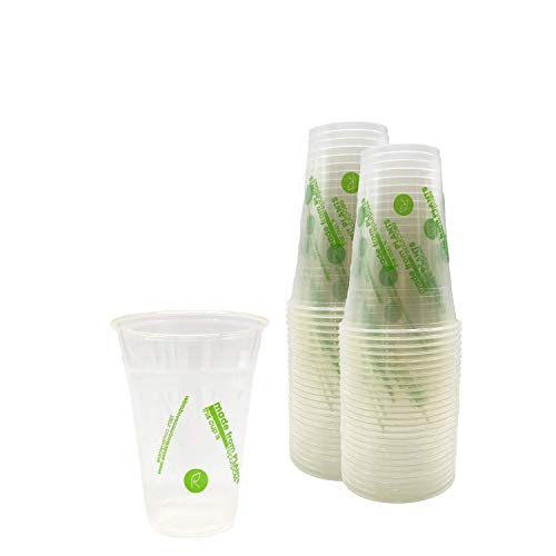 Repurpose 100% Compostable Plant Based Clear Cold Cup | 16 Ounce Party Cups | 50 Cups, (50 Count)