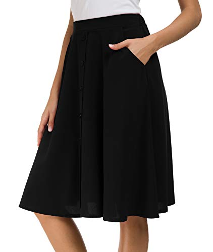 Afibi Women's High Waisted A Line Pleated Midi Skirt Button Front Skirts with Pocket (Small, Black)