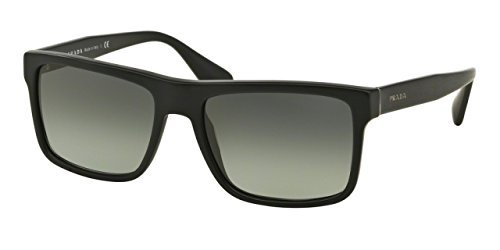 Prada Men's PR 01SSF Sunglasses Brushed Matte Black / Light Grey Gradient Dark Grey - Matte Sunglasses Black Prada