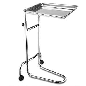19x13x1 Inches Mayo Instrument Stand Adjustable Height w/ Removable Stainless Steel Tray Double Post for Professional Medical Supplies Hospital Patient (Post Double Stand)