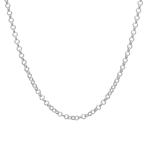 925 Sterling Silver Nickel-Free 2mm Rolo Cable Link Chain , 18 inches - Made in Italy + Bonus Cloth (Silver Cable Link Chain)