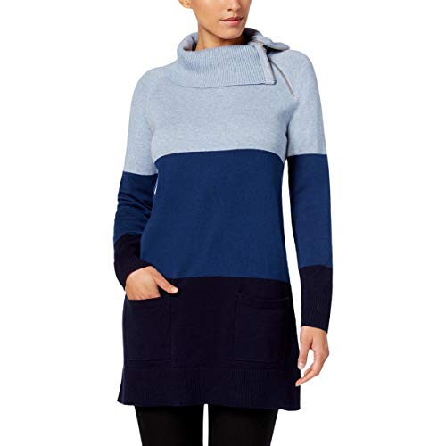 Jeanne Pierre Womens Colorblock Tunic Turtleneck Sweater Blue XL ()