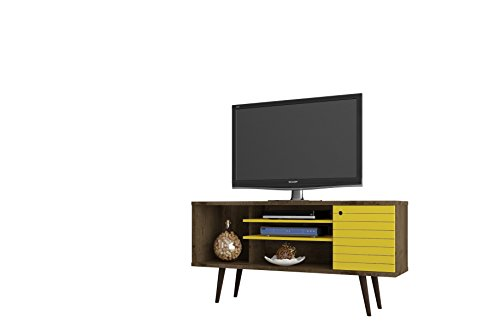 Manhattan Comfort Liberty Collection Mid Century Modern TV Stand With One Cabinet and Two Open Shelves With Splayed Legs, Wood/Yellow