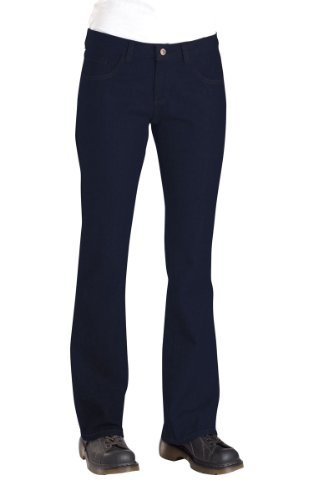 Dickies Occupational Workwear FD231RNB 16 P Denim Cotton Relaxed Fit Women's 5-Pocket Jean with Boot Cut Leg, 16 Petite, 28
