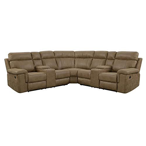 (Pemberly Row Baxter Badlands Saddle Faux Leather Power Reclining Sectional)