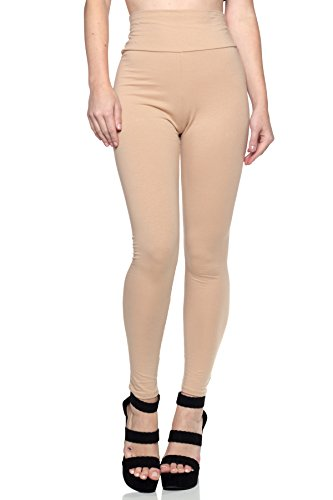 Women's Junior Plus J2 Love Cotton High Waist Leggings, 3X, Nude by Cemi Ceri