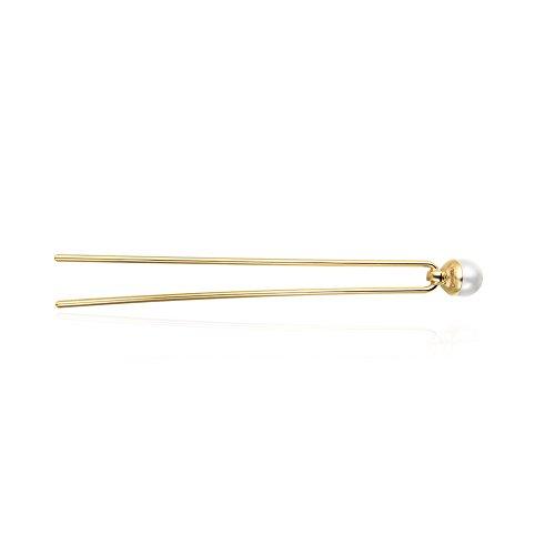 CHIMERA Simple Metal Hair Fork Vintage Elegance Alloy U-Shape Beaded Hairpin Hair Accessories for Women Golden