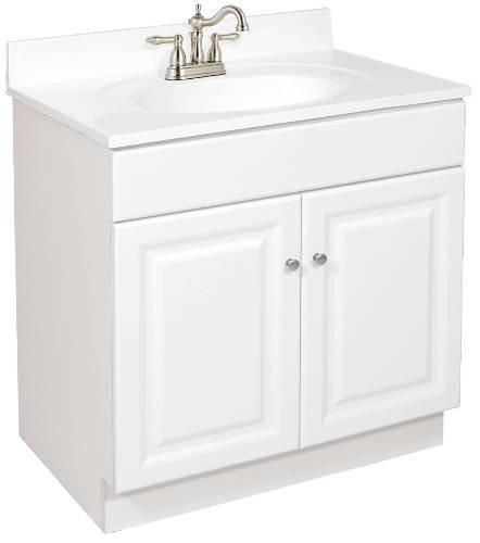 National Brand Alternative 103501 Design House Wyndham Bathroom Vanity Cabinet, Ready to Assemble, 2 Door, White, 24'' x 31-1/2'' x 18-1/2'' - 103501